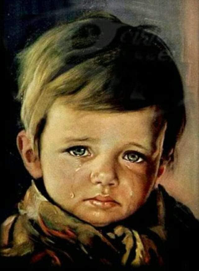 cuadro maldito niño lloron